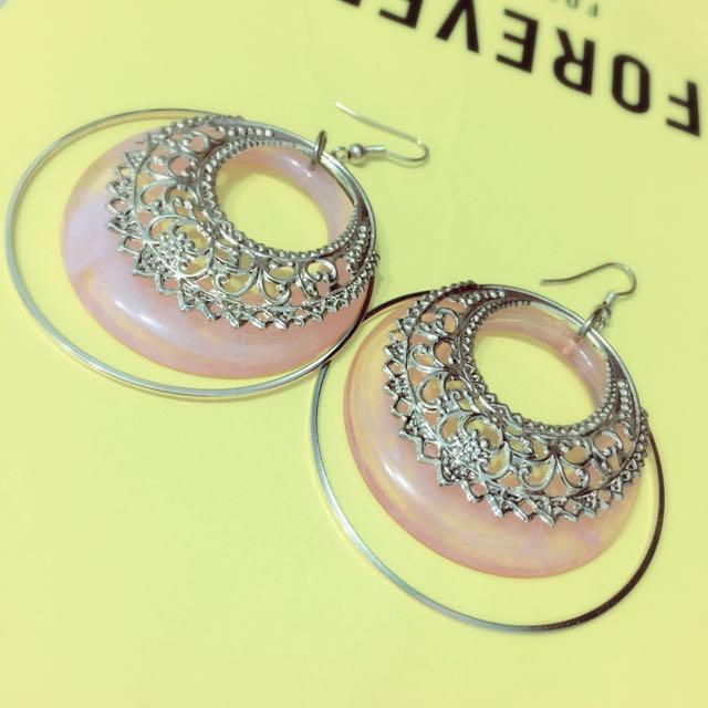 全新免運 民族風 粉色金邊耳環