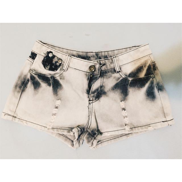 蕾絲 拼布 牛仔短褲