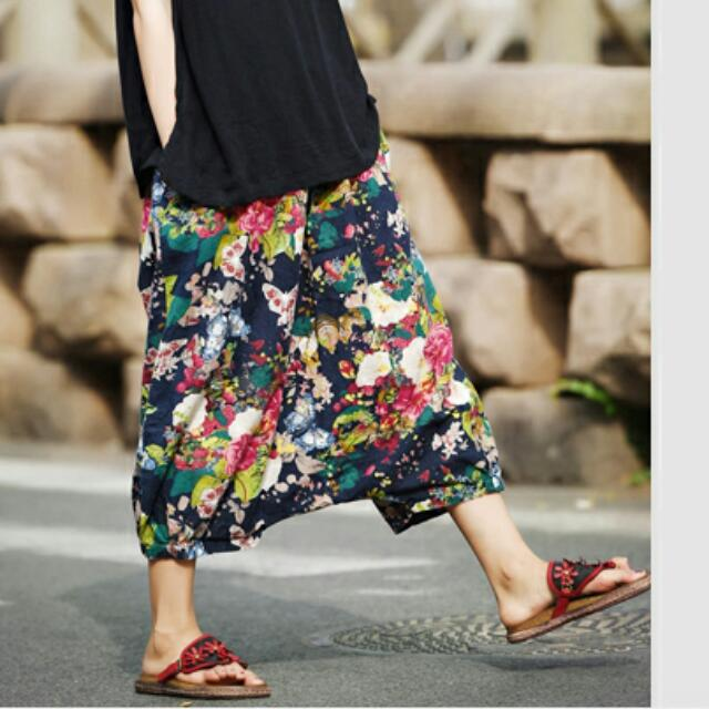 全新 森林系 民族風 休閒低襠大花褲裙