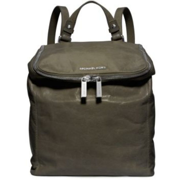 e4062cd2be84 ... low cost michael kors army green lisbeth distressed leather medium  backpack bd987 cab89