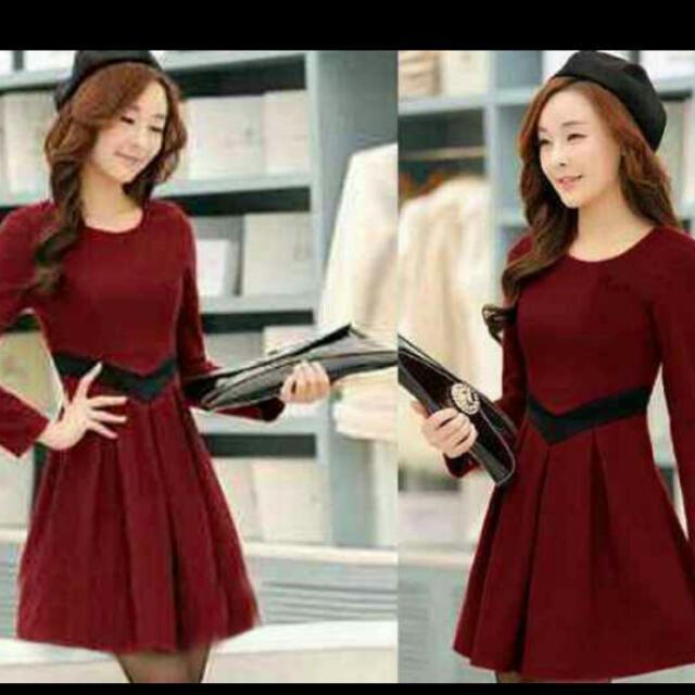 Ready Elegant Maroon Long Sleeve Dress