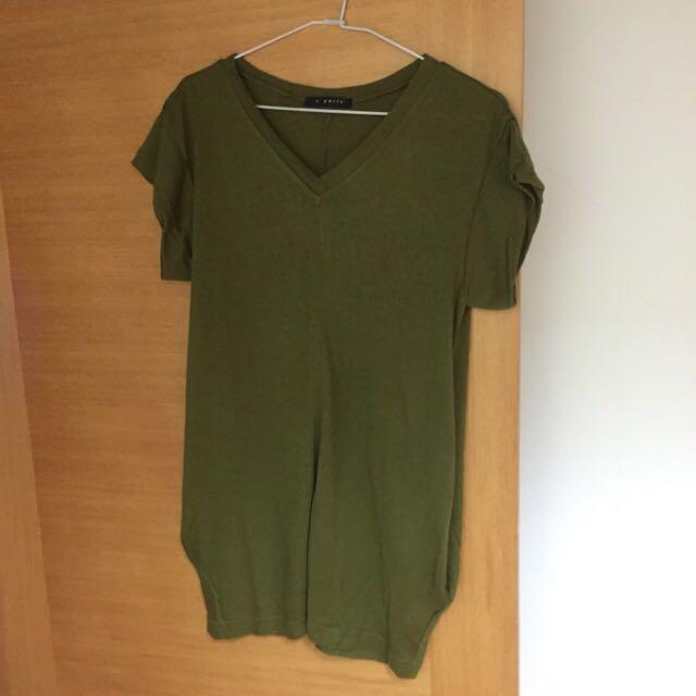 T-PARTS 專櫃 軍綠長版上衣