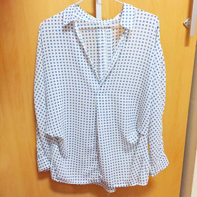 Vieso藍白格子寬鬆雪紡開襟襯衫