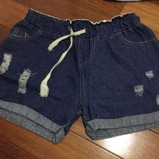 👾贈品👾 深藍 牛仔短褲 微刷破 抽繩