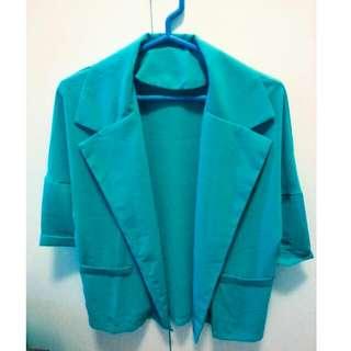 韓系寶綠薄西裝外套
