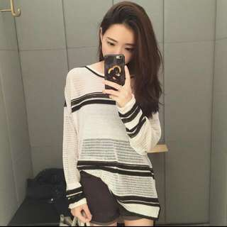 [預購]2015秋裝新品/簡約時尚百搭/黑白條紋針織衫/罩衫