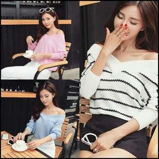 [預購]2015秋裝新品/歐美甜美時尚/黑白/粉紅/淺藍針織衫