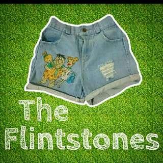 Vintage 復古高腰卡通刺繡牛仔短褲
