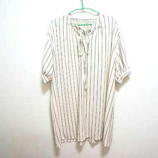 韓貨-長版白雪紡直紋上衣洋裝