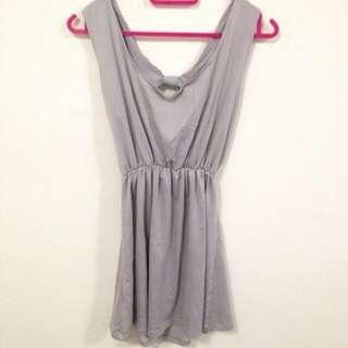 Grey Cut Out Ribbon Back Dress / Top