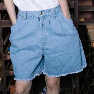 (全新) Planet 行星 牛仔短褲 抽鬚短褲 牛仔褲 牛仔寬褲 寬褲 淺藍