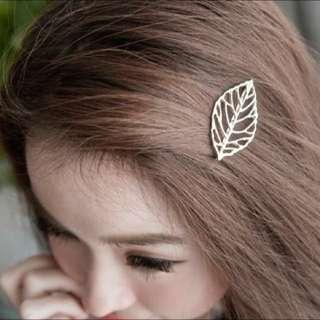 韓國🇰🇷 簍空葉子髮夾(銀/金 2色)
