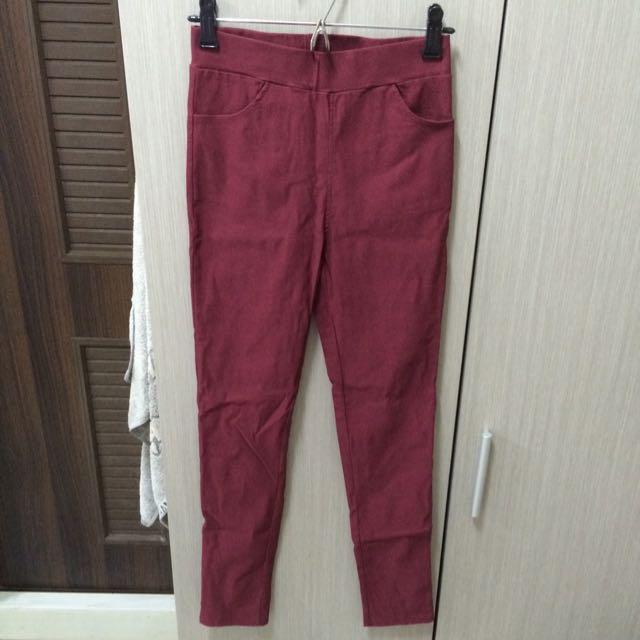 (全新)酒紅色鉛筆褲
