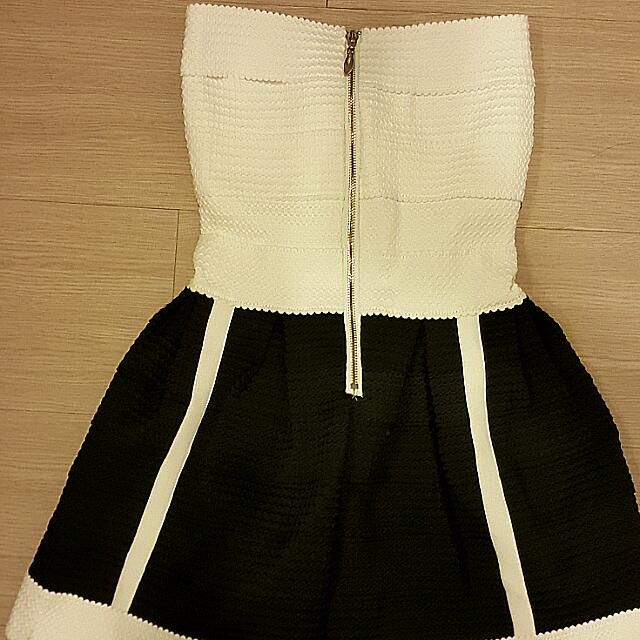 全新性感黑白彈力繃帶洋裝