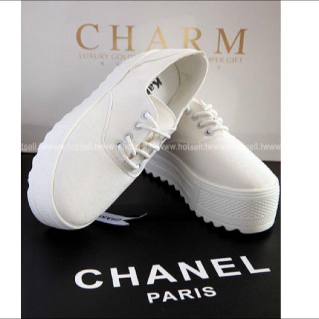 增高厚底綁帶帆布鞋 小白鞋
