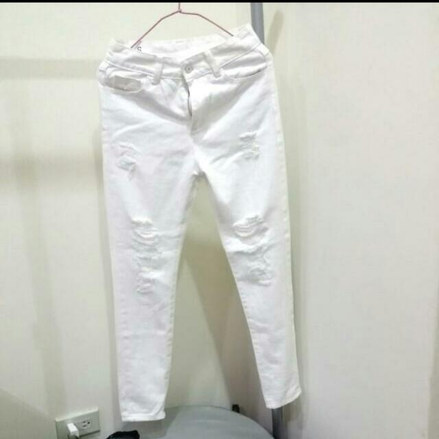 🎉全新🎉 刷破白長褲