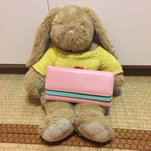 全新 粉紅+馬卡龍綠 長夾 錢包(不含玩偶)