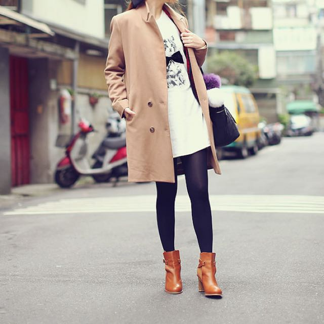 韓貨 駝色大衣 秋冬款 REENA  駝色 大衣 咖啡