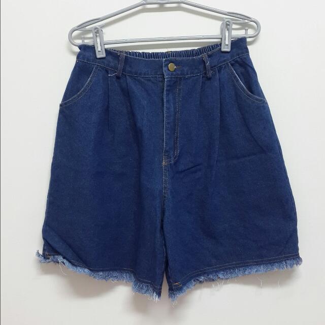 (全新) planet 行星 牛仔短褲 抽鬚短褲 牛仔褲 牛仔寬褲 寬褲 深藍