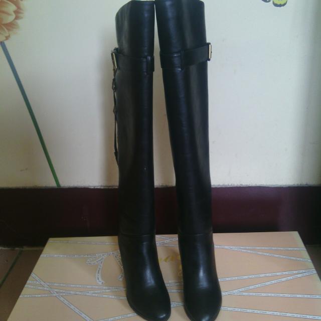(降價)Grace gift流蘇裝飾性感過膝靴黑23.5含運