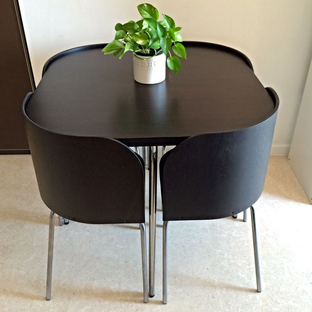 Ikea fusion table with 4 chairs excellent condition furniture on carousell - Space saving dining table ikea ...
