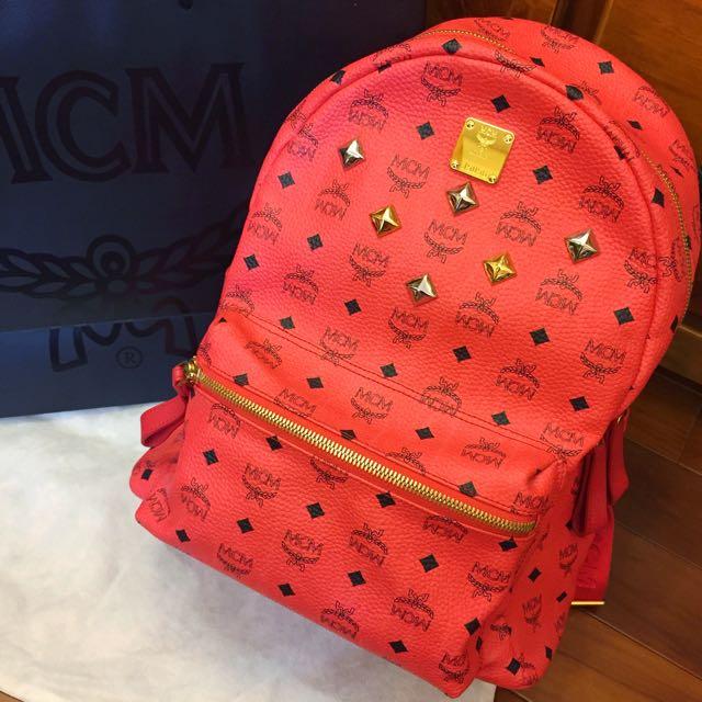 MCM 真品✨經典後背包 紅色 韓國購入❤️