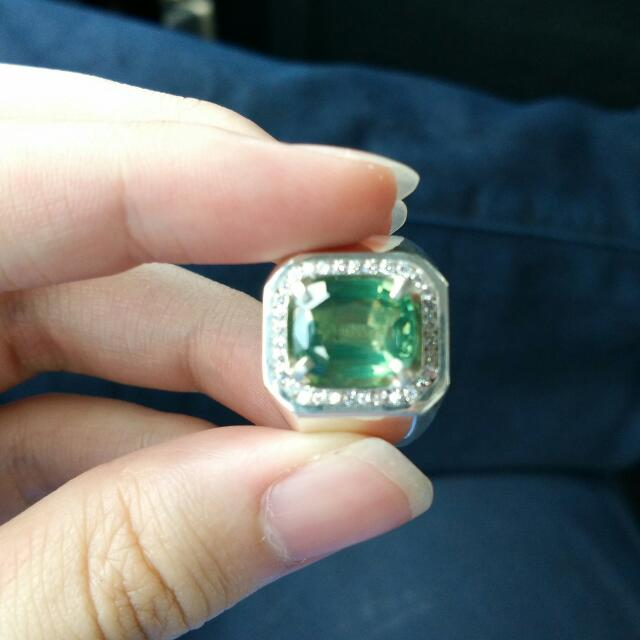 Natural Green Sapphire With Ring