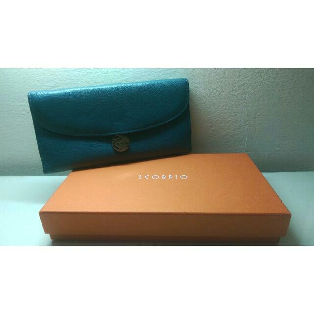 【SCORPIO】經典壓扣多卡長夾(藍)