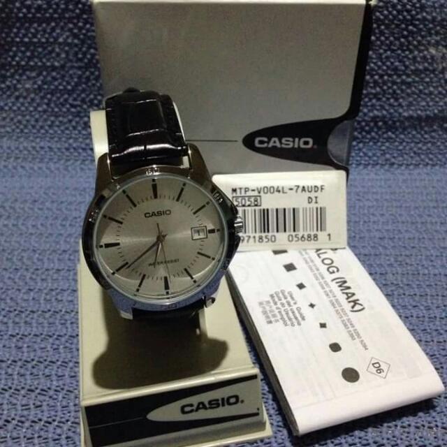BN: Unisex Authentic Casio Black Leather Watch