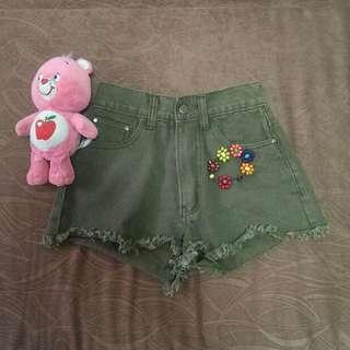 Army Green Frayed Highwaist Shorts