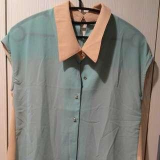 雙色拼接雪紡襯衫
