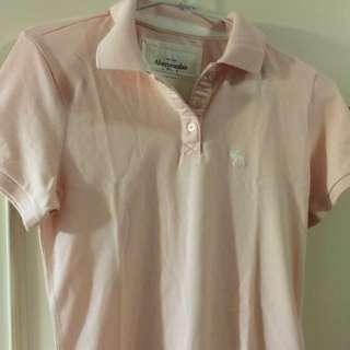 全新 美國空運 A&F 粉色腰身T恤Polo杉 S號