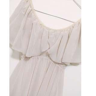 裸膚色雪紡氣質洋裝