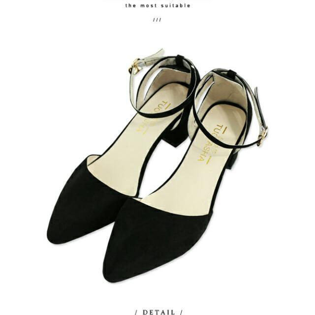 (二手)韓系繫帶尖頭粗跟鞋