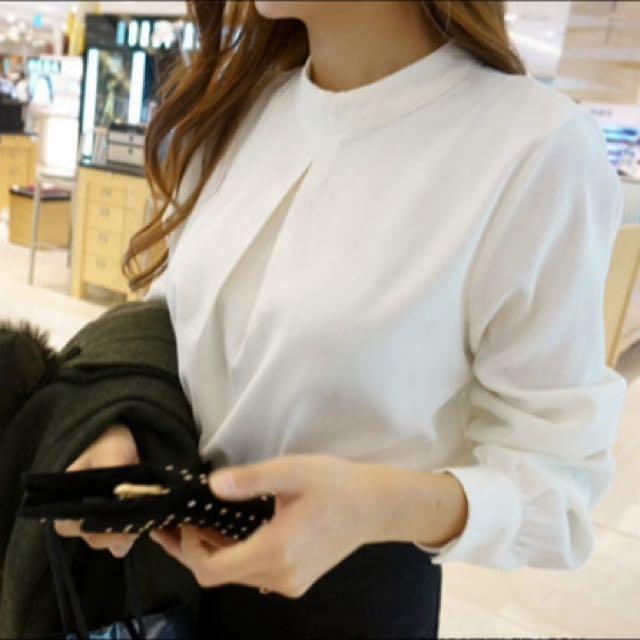 甜美百搭後扣造型長袖襯衫/全新