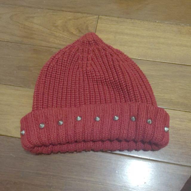 👾贈品👾 紅色 毛帽 卯釘