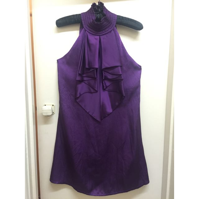 BNEW Bariano Purple Layered Lapel Sleveless Top