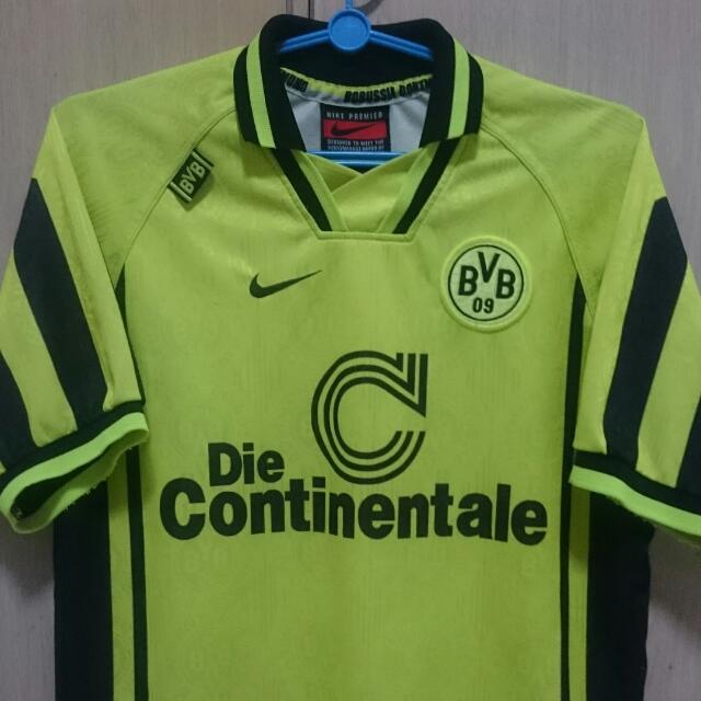 newest a93e6 16037 Borussia Dortmund Vintage Nike 1996-97 Home Jersey, Sports ...