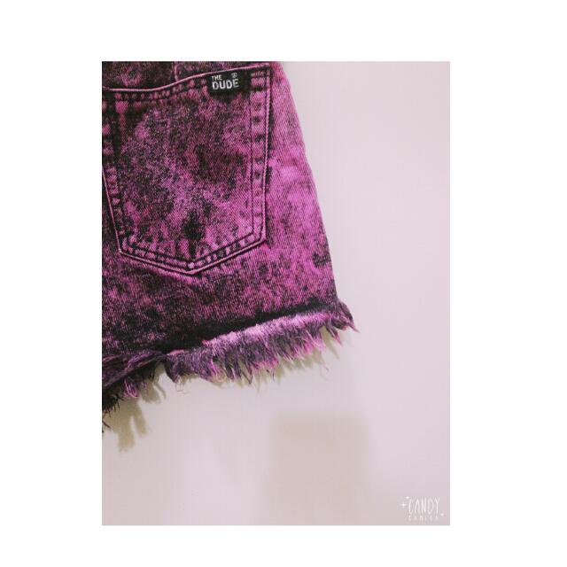 THE DUDE 桃粉渲染黑短褲