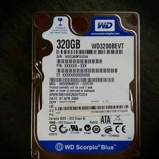 2.5吋 WD藍標320GB硬碟