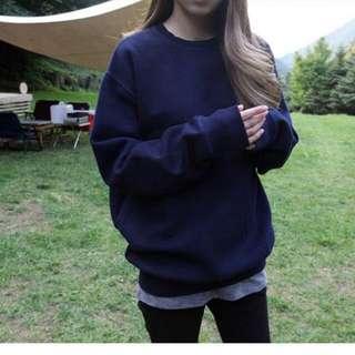 韓國純色寬鬆大碼女裝加絨衛衣女春秋冬學生棒球服#1202298130