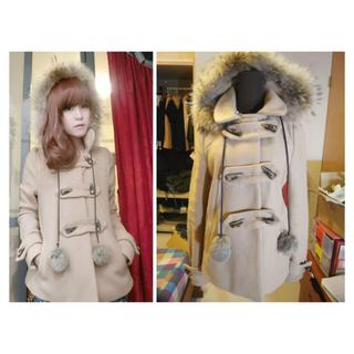 轉賣 正韓 韓國 學院風牛角釦真狐狸毛帽兔毛球毛呢外套大衣 (駝)