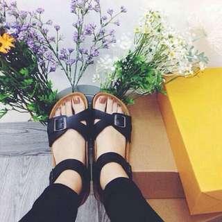 BN Black Birk Inspired Criss Cross Strap Sandals