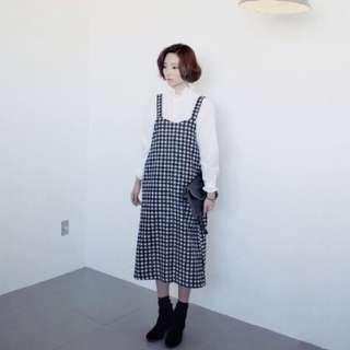 免運_vintage小格吊帶裙