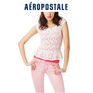 AERO 女生棉質蕾絲上衣 (白色) 尺寸: S號  全新商品~吊牌在 $300免運