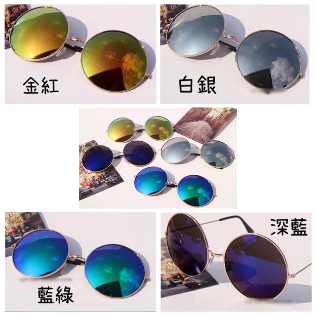 新款兩副$250滿五送一♥️復古圓形金屬框炫彩太陽眼鏡♥️ 男女墨鏡 日韓熱賣 EXO GD時尚風格 復古搭配 阿華有事嗎
