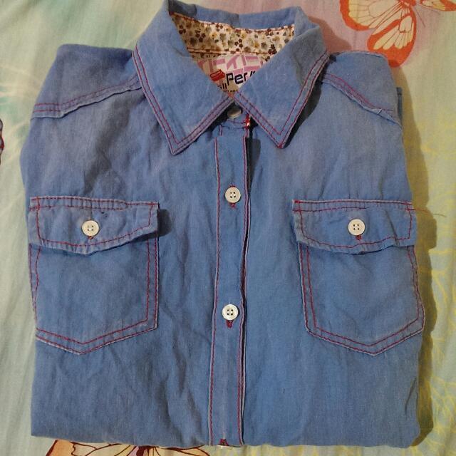 淺藍小碎花襯衫