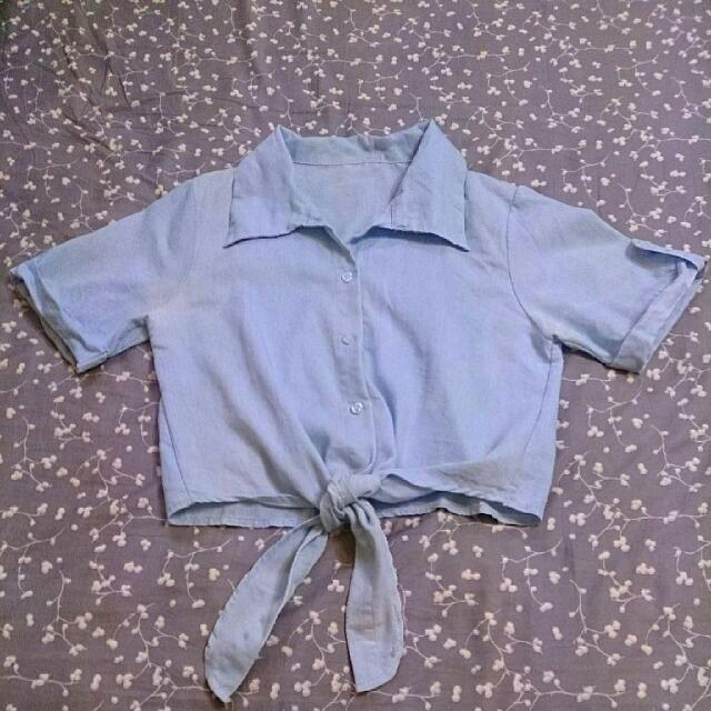 降!綁帶短版襯衫(外罩衫)