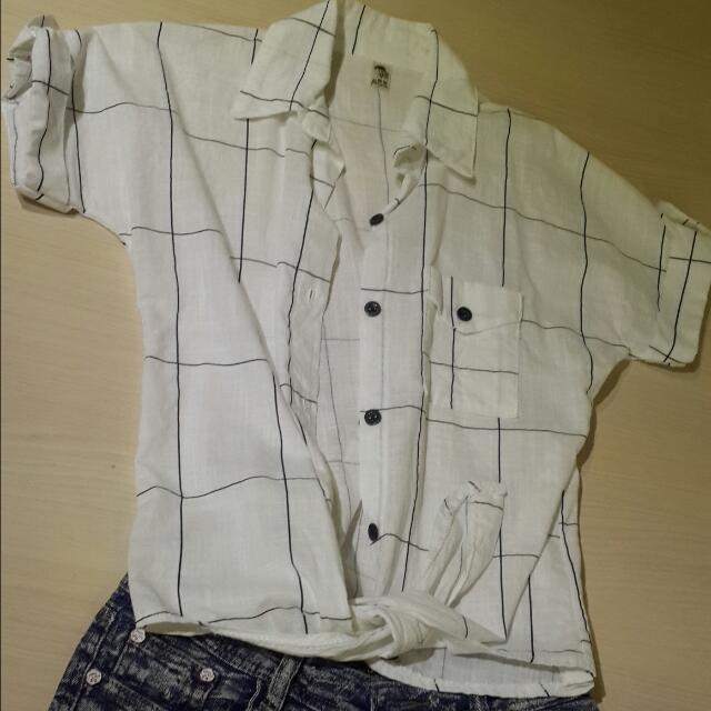 短版格子襯衫