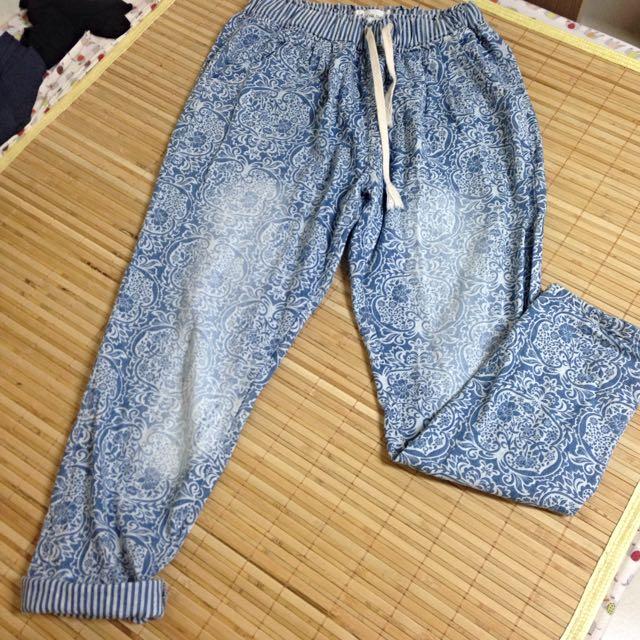 圖騰刷色反折男友褲